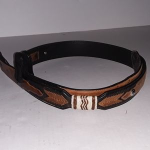 Justin Native American style leather belt, 38, GUC